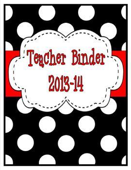 Black and White Polka Dot Teacher Binder