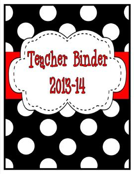 Black and White Polka Dot Teacher Binder