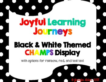Black and White Polka Dot and Chevron CHAMPS Posters