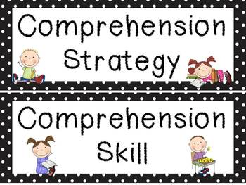 Black and White Polka Dot and Kids Reading Strategies and Skills posters