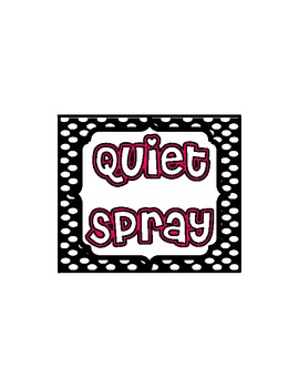 Black and White Polka Dots Quiet Spray Label