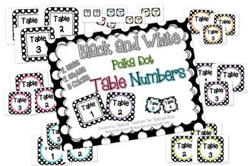 Black and White Polka Dots -Table Numbers