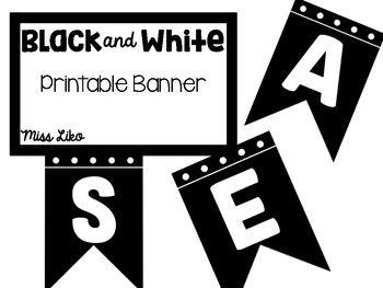 Black and White Printable Banner
