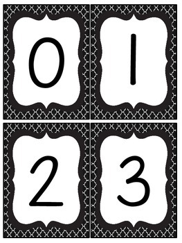 Black and White Quatrefoil Number and Letter Cards