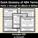 Quick Glossary of ABA Terms - Parts 1 through 14 - ABA Flash Cards - Black/White