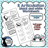 Black and White R Homework Pages | Printable | Speech-Language Therapy