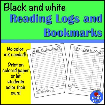 Black and White Reading Logs and Bookmarks