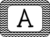 Black and White Rectangluar Word Wall Letters