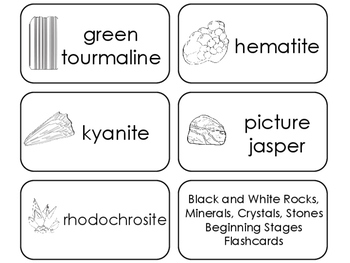11 Black and White Rocks, Minerals, Crystals, and Stones Printable Flashcards.
