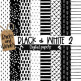 Black and White Scandi Doodle Background Papers Vol 2