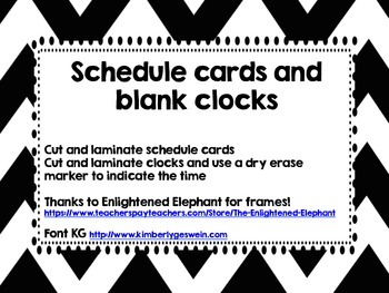 Black and White Schedule Cards