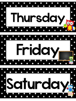Black and White School Owls Days of the Week Labels.