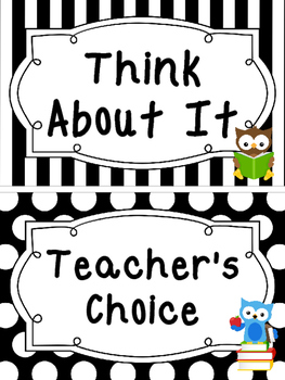 Black and White School Owls themed Behavior Clip Chart-7 Cards