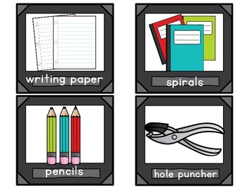 Black and White School Supply Labels