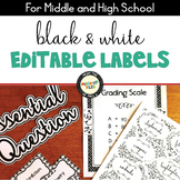 Black and White Editable Labels
