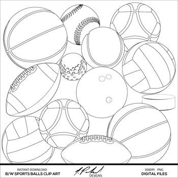 Black and White Sports Balls Digital Clip Art