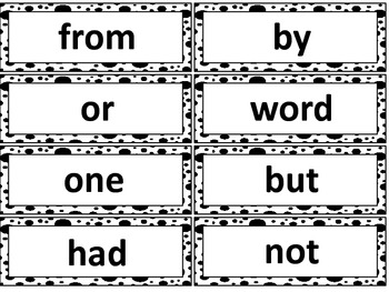 Black and White Spots Word Wall Words