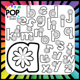 Spring Flower Alphabet Clip Art (Black and White)