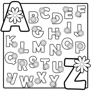 Spring Flower Alphabet Clip Art Black And White By Pop Go The Pixels