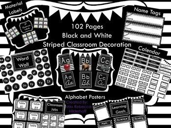 Black and White Stripe Classroom Decor