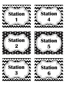 Black and White Station Labels