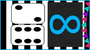 Black and White Stripe Background Dice Numbers 1-12