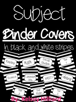 Black and White Stripe Binder Covers ( eleven different su