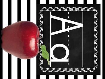 Black and  White Stripe Classroom Alphabet Set