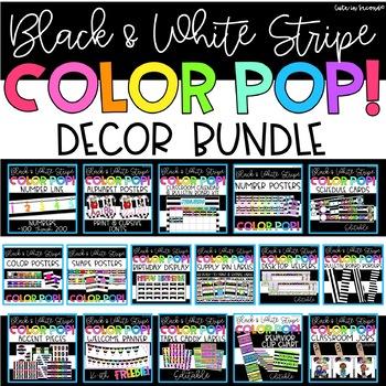 Black and White Stripe Color POP! Classroom Decor Bundle
