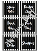 Black and White Stripe *Editable* Supply Labels