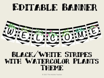 "Black and White Stripe with Watercolor Nature Themed Welcome Banner 10"" X 7"""