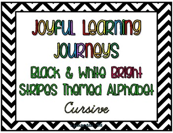 Black and White Stripes with Brights Alphabet - Cursive