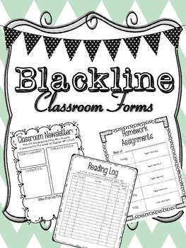 Black and White Student Binder Sheets and Classroom Forms