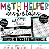 Black and White Student Desk Plates with Upper Grade Math Helpers