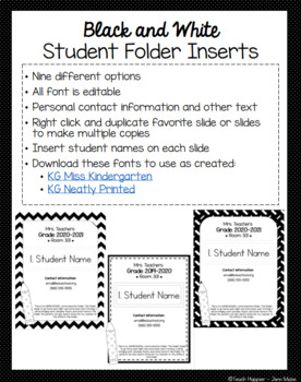 Black and White Student Folder Inserts