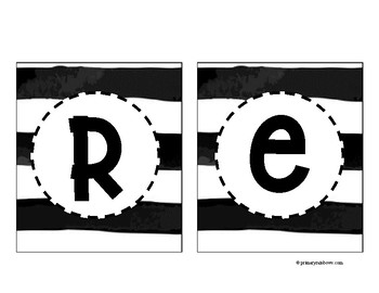 Black and White Subject + A-Z Watercolor Banners
