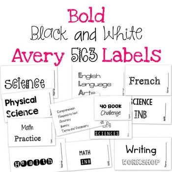 black and white subject labels avery 5163 tpt