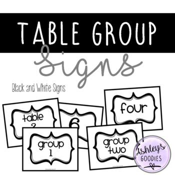 Black and White Table Group Signs