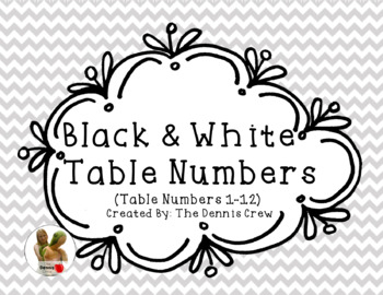 Black and White Table Numbers 1-12
