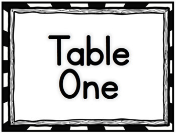 Black and White Table Signs