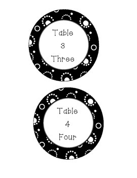 Black and White Table numbers!
