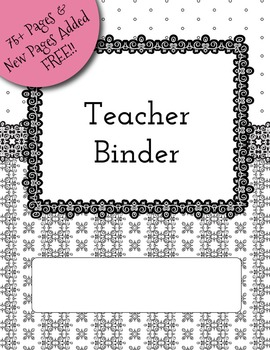70 Black and White Teacher Binder Dividers, Calendar, Note