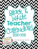 Black and White Teacher Calendar {2018-2019}