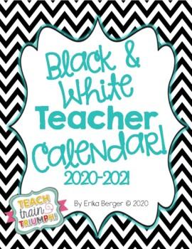 Black and White Teacher Calendar {2016-2017}