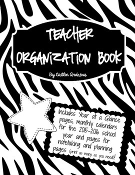 Black and White Teacher Organization/Planning Pages