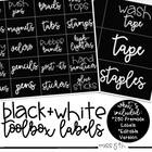 Black and White Teacher Toolbox/Supply Labels