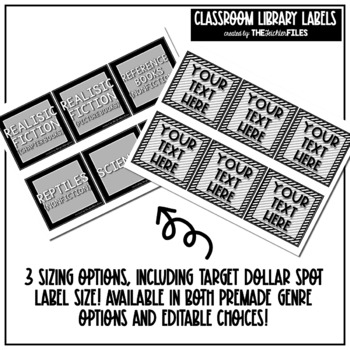Black and White Theme Classroom Decor - Library Labels for Book Bins EDITABLE
