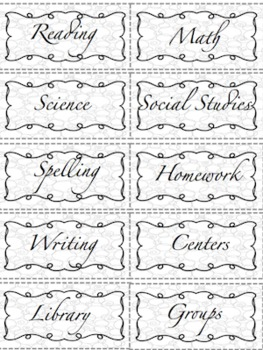 Black and White Theme Folder Subject Labels