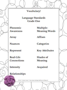 Black and White Theme Grade One CCSS Complete Vocabulary Program