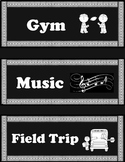 Black and White Theme Schedule Cards - EDITABLE